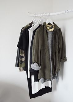 Military green, gold and light grey