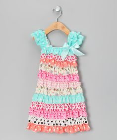 Take a look at this Aqua & Pink Ruffle Cap-Sleeve Dress - Infant, Toddler & Girls by Tutus by Tutu AND Lulu on #zulily today!