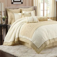 For an elegant and sophisticated look the Tatyana comforter set is the perfect update. This solid ivory comforter features quilting to create a beautifully textured face and is pieced with jacquard trim. The matching shams, embroidered bedrunner, and solid bedskirt create a finished look that pulls the whole collection together.