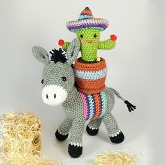Dante the donkey and Carlos the cactus amigurumi pattern by Janine Holmes at…