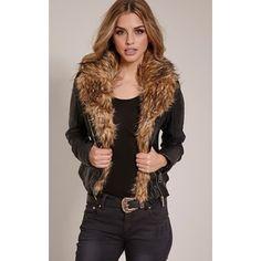 Lorra Black Faux Fur Collar Faux Leather Biker Jacket-8
