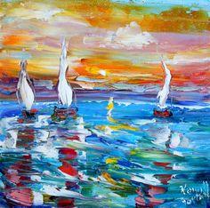 Original Oil Painting High Sunset Sailing modern by Karensfineart