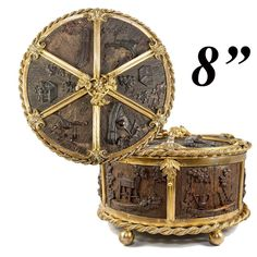 """Unique Antique French 8"""" Round Jewelry Casket, Carved  Wood & Ormolu"""