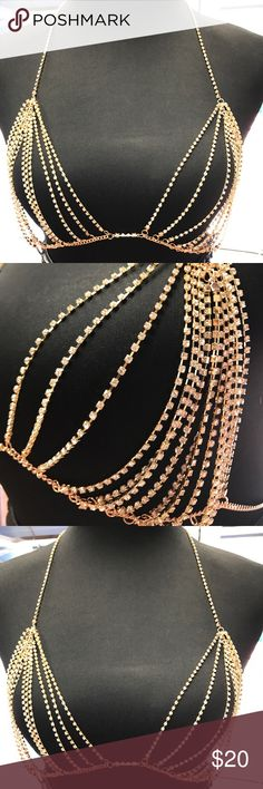 🌟🌟🆕🆕🆕 Super sexy Glam Bralette Chain Rhinestone studded chain bralette is a must this season! Dare to bare it over your outfit or just offer a sneak peek underneath. It's up to you how you want to flaunt it!   Get yours before it's gone gone gone! Other