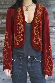 Antique Early Velvet Embroidered Jacket by The Henderson Ames Co. Glam Rock, Red Velvet Jacket, Grunge, Embroidered Jacket, Boho, Alexander Mcqueen Scarf, Girls, What To Wear, Kimono Top