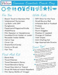 Beach Bag Essentials Checklist - for adults AND kids
