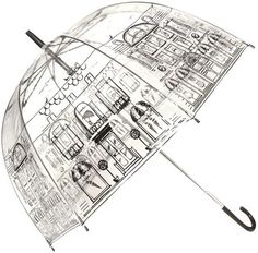 Lulu Guinness Street Scene Birdcage Umbrella in Transparent (clear)