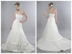 A-line Scoop Chapel Train Organza Floor-length Wedding Dresses