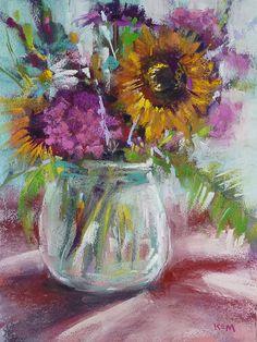 Summer Bouquet Floral Original Pastel by Karen Margulis