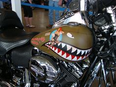 "O's Custom Paints / Custom Painting - Harleys, Choppers, Motorcycles / Naughty & Nice-Tribute to the ""Flying Tigers"" Motorcycle Paint Jobs, Chopper Motorcycle, Bobber Chopper, Motos Harley Davidson, Custom Harleys, Custom Bobber, Custom Paint Jobs, Bike Art, Pin Up"