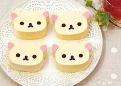Kawaii Japan: Kawaii Cute Korilakkuma Cheesecake Japanese Food www. Japanese Sweets, Japanese Food, Yummy Treats, Yummy Food, Bear Cupcakes, Kawaii Dessert, Cute Desserts, Food Humor, Cute Food