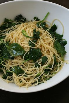 Spaghetti with Spinach, Garlic, and Lemon.  Serve as main course, or pair with grilled chicken or shrimp or fish. Sooo good!!