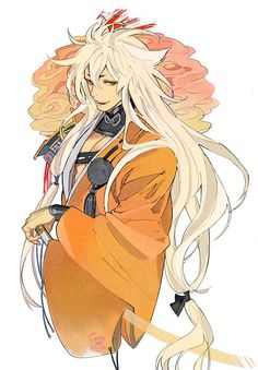 Painted in oranges, it reflects the brilliant power of a katana. Touken Ranbu, Handsome Anime Guys, Hot Anime Guys, Character Inspiration, Character Art, Cosplay Lindo, Happy Tree Friends, Estilo Anime, Manga Illustration