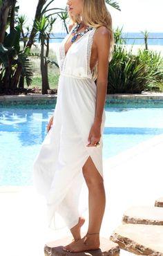 Fashion Deep V-neck Sleeveless Elastic Waist Chiffon Jumpsuit