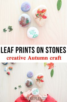 Make lovely prints with this Leaf Prints on Stones Craft this Autumn with your kids. It's a perfect, fun and fairly easy craft idea that will let you see all of the distinct and beautiful features of the leaves. Outdoor Activities For Kids, Autumn Activities, Toddler Activities, Preschool Activities, Toddler Crafts, Crafts For Kids, Arts And Crafts, Leaf Crafts, Fall Crafts