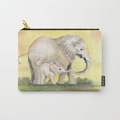 Colorful Mom and Baby Elephant 2 by Melly Terpening  Organize your life with our Carry-All Pouches. Available in three sizes with wraparound artwork, these pouches are perfect for toiletries, art supplies or makeup. Even an iPad fits into the large size. Features include a faux leather pulltab for easy open and close, a durable canvas-like exterior and a 50/50 poly-cotton black interior lining. Machine washable.
