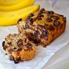 Less than 100 calories! This secretly healthy banana bread has no oil, butter, or refined sugar. Now you can load it with chocolate chunks!