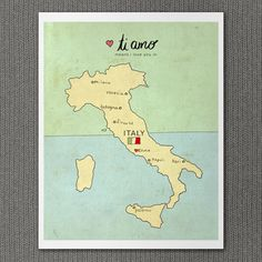 I Love You in Italy 8x10 / Typography Print Italian by LisaBarbero, $20.00