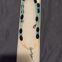 Native American necklace Never worn. Still in box. Handmade with sterling silver and turquoise. From www.oknativeart.com Accessories