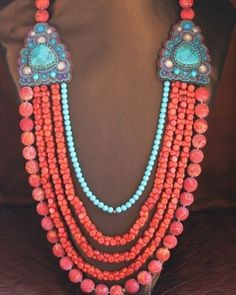 Sponge Coral & Turquoise Necklace