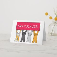 Congratulations in Polish. Card created by KateTaylor. Kitten Cartoon, Cute Cartoon, Information Technology Logo, Custom Greeting Cards, Thoughtful Gifts, Smudging, Paper Texture, Congratulations, Polish
