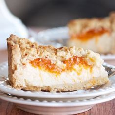 Delicious Russian cheesecake made with farmer's cheese and fresh apricots!