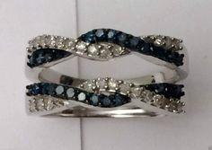 10k White Gold Wave Design Solitaire Enhancer Blue Diamonds Ring Guard Wrap.…#gold #diamonds #ringguard #wrap #enhancer #fashion #jewelery #love #gift #ringjacket #engagement #wedding #bridal #engaged #whitegold #yellowgold #online #shopping #jewelry #pintrest #follow #richmondgoldanddiamonds