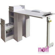 EuroStyle Portable Manicure Table   Foldable Nail Table - White