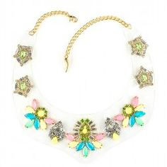 Clear P.V.C. necklace with crystals. Clear P.V.C. bib necklace embroidery with crystals and enameled stones, brass chain.