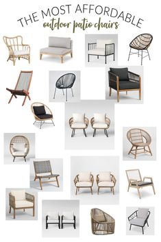 The Most Affordable + Stylish Outdoor Patio Chairs I am in desperate need of patio chairs this season! I have rounded up my favorite affordable + stylish outdoor patio chairs in a source guide. Backyard Furniture, Modern Outdoor Furniture, Home Decor Furniture, Outdoor Decor, Rustic Furniture, Furniture Makeover, Farmhouse Outdoor Furniture, Antique Furniture, Pallet Furniture