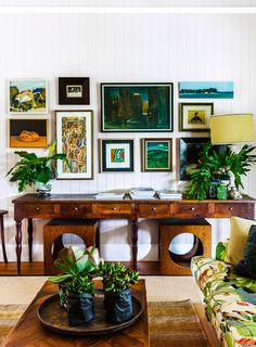 In the living room, artworks and unusual upholstery fabric inject colour and elements of fun. An antique console takes pride of place in this living room. Lounge Room, Living Room Chairs, Country Decor, Decor, Australian Homes, Living Room Artwork Decor, Home, Renovations, Room
