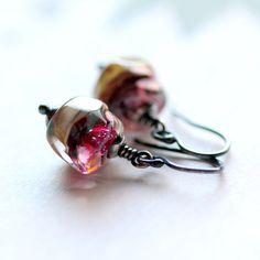 Valentine's Day Earrings  Pink Artisan Lampwork by JarosDesigns, $58.00