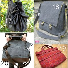 20 links to free bag tutorials.  Several messenger and organizer, some fluffy.