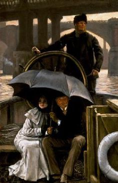 On the Ferry in the Rain - Tissot