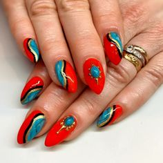 """Mia on Instagram: """"Comin in hot with some fiery red & turquoise on Holly 🔥#nailart #hotnails #turquoisenails #sparklesf"""" Indian Nails, Red Turquoise, Fiery Red, Hot Nails, Nailart, Instagram"""