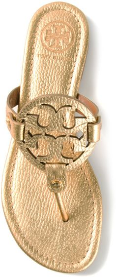 Our all time favorite sandals in gold!!!!  Must have for this summer.  Yes! #toryburch #goldsandals #metallic