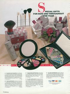 Make-up palettes, brushes, and other beauty products from the 1990 JC Penney Christmas catalog. #vintage #1990s #nostalgia #makeup