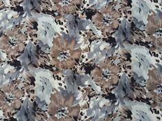 Silver/Brown Spandex Floral Flowers Fabric Jersey Lycra Dress Skirt Fabric -  Per Metre