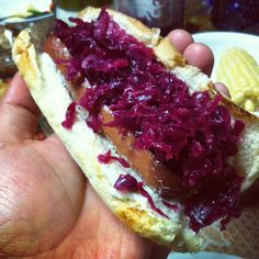 Hot dog with homemade red kraut