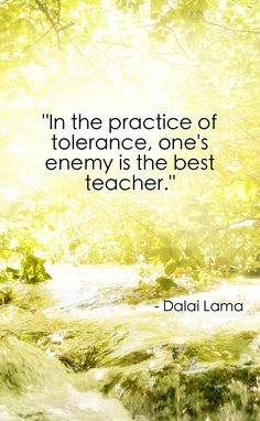 In the practice of tolerance, one's enemy is the best teacher - Dalai Lama #quote