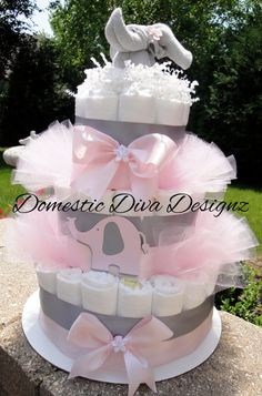 Diaper Cake  Light Pink & Gray Elegant by DomesticDivaDesignz