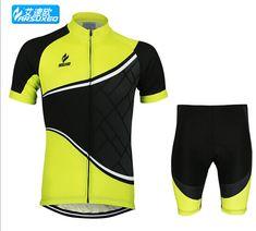 ARSUXEO Mens Cycling Short Sleeves MTB Jersey Bike Bicycle Sets Shirts Padded Cycling Clothing Sets
