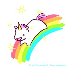 Somewhere Over the Rainbow, there is a sparkly unicorn waiting for you... A very chubby, cute unicorn. :)