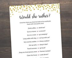 Would She Rather, Gold Bridal Shower, Bachelorette Games, Bridal Shower Games, Who knows the Bride Best, Hen Party Game, Hens Night, J001 Bridal Games, Bridal Shower Games, Bridal Showers, Bachelorette Bucket Lists, Bachelorette Party Games, Matching Games, Print And Cut, Invitations, Hen Ideas