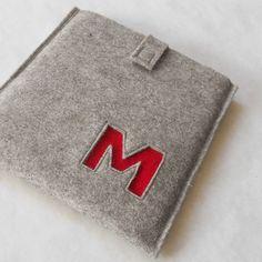 Custom Monogram iPad Case  100 Wool Felt Light by MaricFineGoods