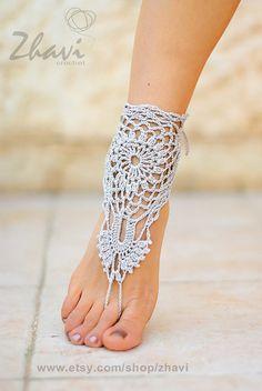SALE 3  1 Bridal Foot jewelry  Beach wedding White by ZHAVI