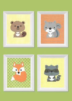 Woodland Nursery Art Beaver Raccoon Squirrel by SweetPeaNurseryArt, $45.00