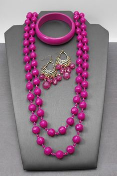 Vintage Fuschia Pink Lucite Bead Layering Necklace Bangle Bracelet Earrings  | eBay