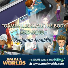 "✰ ""Games lubricate the body and mind."" ✰  Benjamin Franklin. #quote #game #sw #smallworlds"