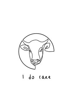 I do Care Animals One Line Illustration Minimalist Graphic Design in Mihokis RedBubble shop Minimalist TShirt Stickers Home Decoration and much more Spread Good vibes. One Line Tattoo, Line Tattoos, Tatoos, Vegetarian Tattoo, Vegan Vegetarian, Vegan Art, Cow Tattoo, Natur Tattoos, Minimalist Graphic Design
